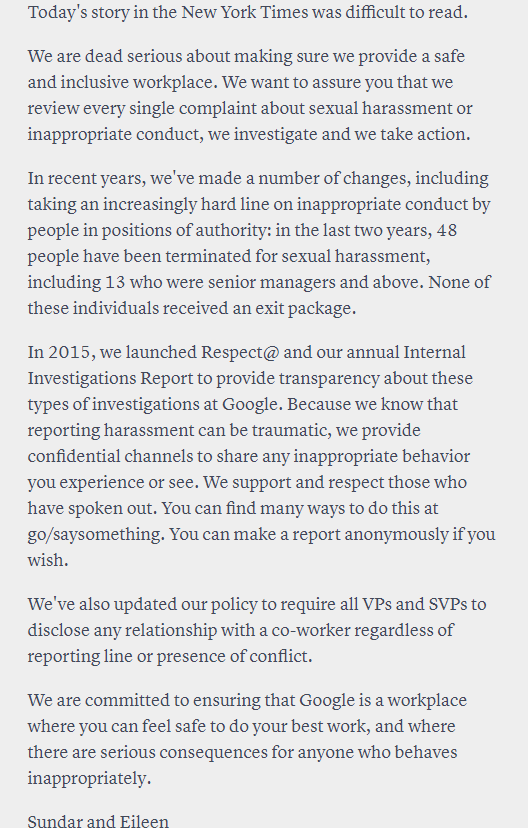 google misconduct
