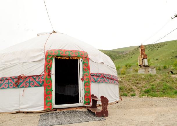 Airmen enjoy a traditional Kyrgyz hunter's BBQ